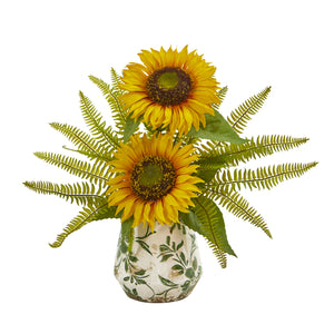 Sunflower and Fern Artificial Arrangement in Vase