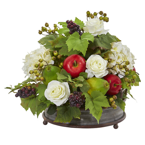 17‰۝ Rose, Hydrangea And Faux Fruits Artificial Arrangement In Metal Tray