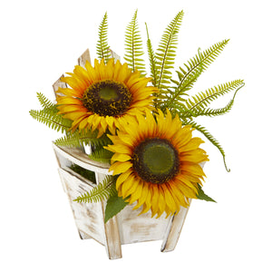 Sunflower and Fern Artificial Arrangement in Chair Planter