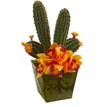 "Load image into Gallery viewer, 16"" Cymbidium Orchid and Cactus Artificial Arrangement in Green Vase"