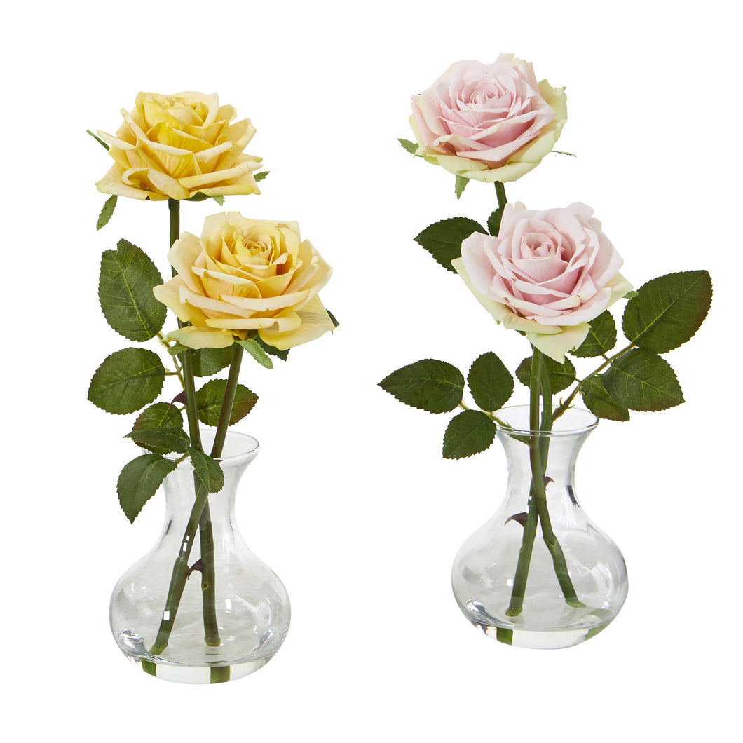 "11"" Rose Artificial Arrangement in Glass Vase (Set of 2)"
