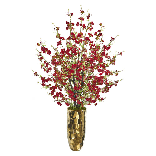 "33"" Cherry Blossom Artificial Arrangement in Gold Vase"