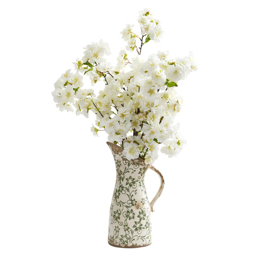 "24"" Cherry Blossom Artificial Arrangement in Floral Pitcher"