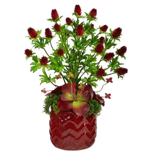 "23"" Thistle and Succulent Artificial Arrangement in Red Vase"