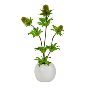 "14"" Thistle Artificial Arrangement in White Vase"