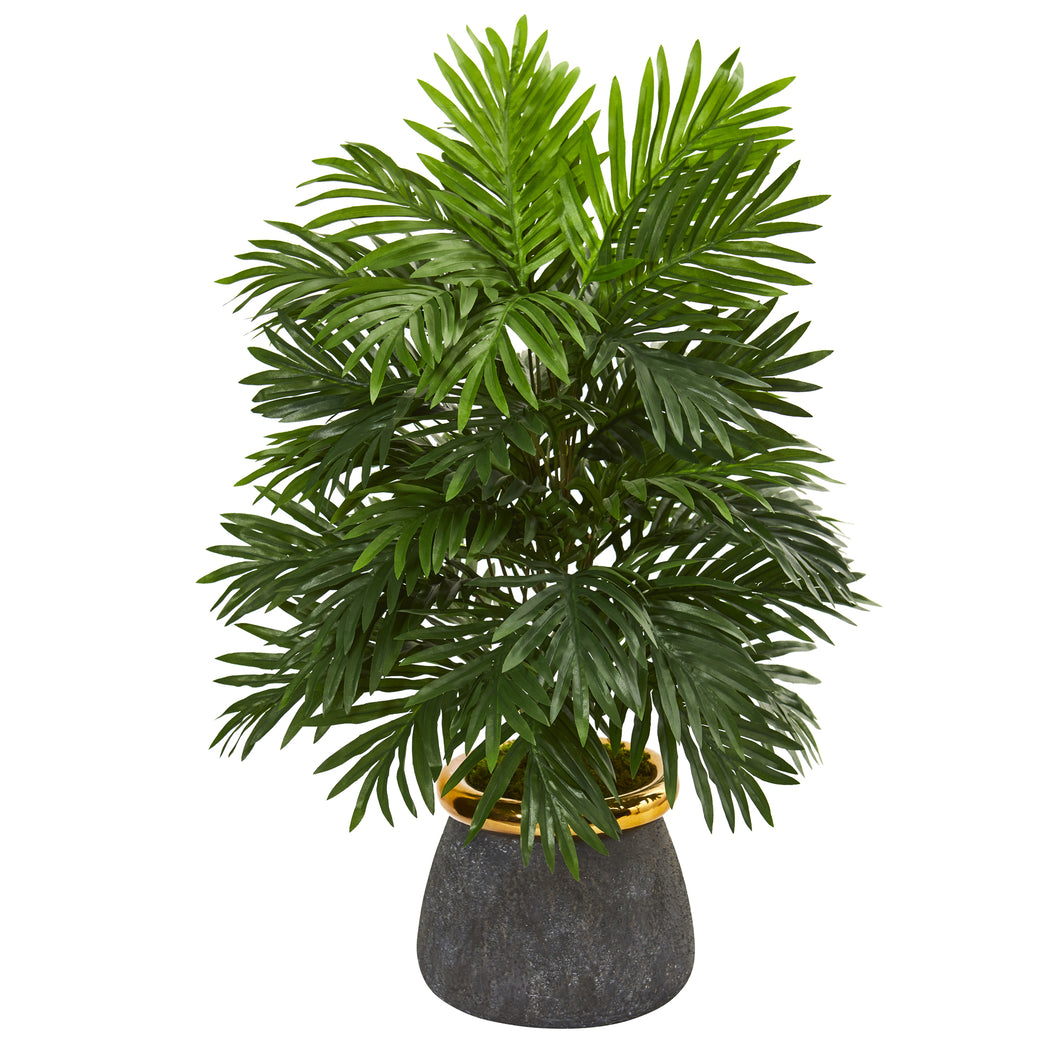 "29"" Areca Palm Artificial Plant in Planter with Brass Trimming"