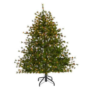 5' Colorado Mountain Pine Artificial Christmas Tree with 250 Clear Lights, 669 Bendable Branches and Pine Cones