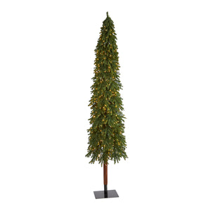 9' Grand Alpine Artificial Christmas Tree with 600 Clear Lights and 1183 Bendable Branches on Natural Trunk