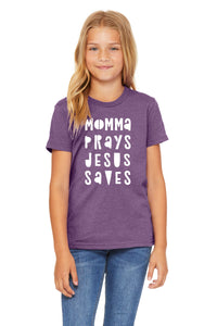 (PRE-ORDER) Momma Prays Jesus Saves™️ T-Shirt | Heather Purple