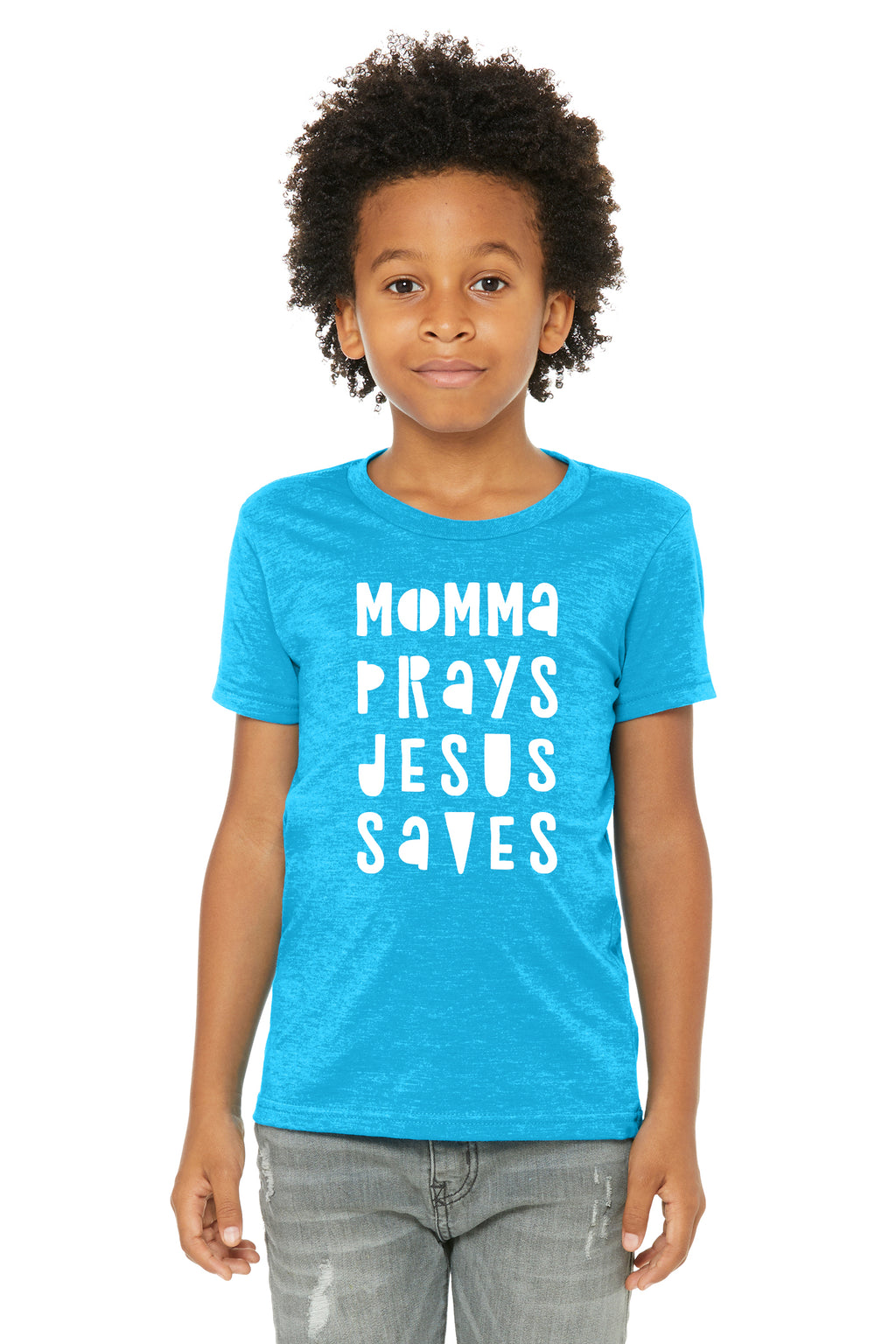 (PRE-ORDER) Momma Prays Jesus Saves™️ T-Shirt | Neon Blue
