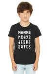 (PRE-ORDER) Momma Prays Jesus Saves™️ T-Shirt | Black Heather