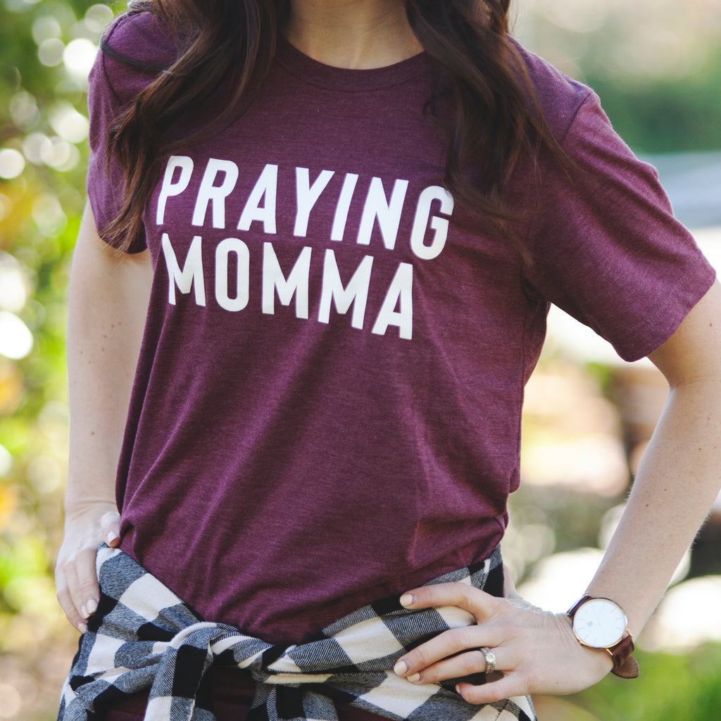 (PRE-ORDER) Praying Momma® T-Shirt | Maroon