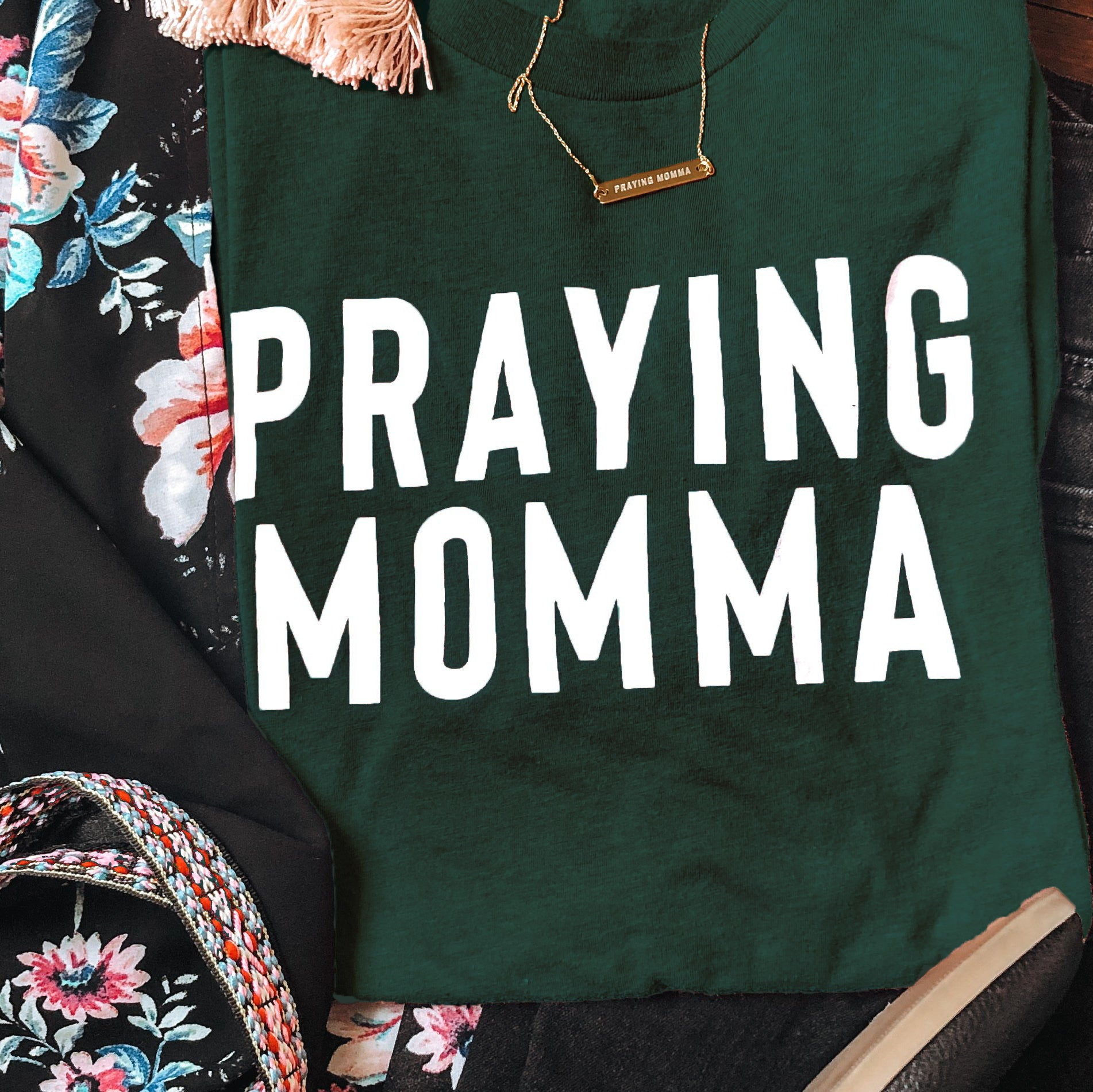 (PRE-ORDER) Praying Momma® T-Shirt | Emerald