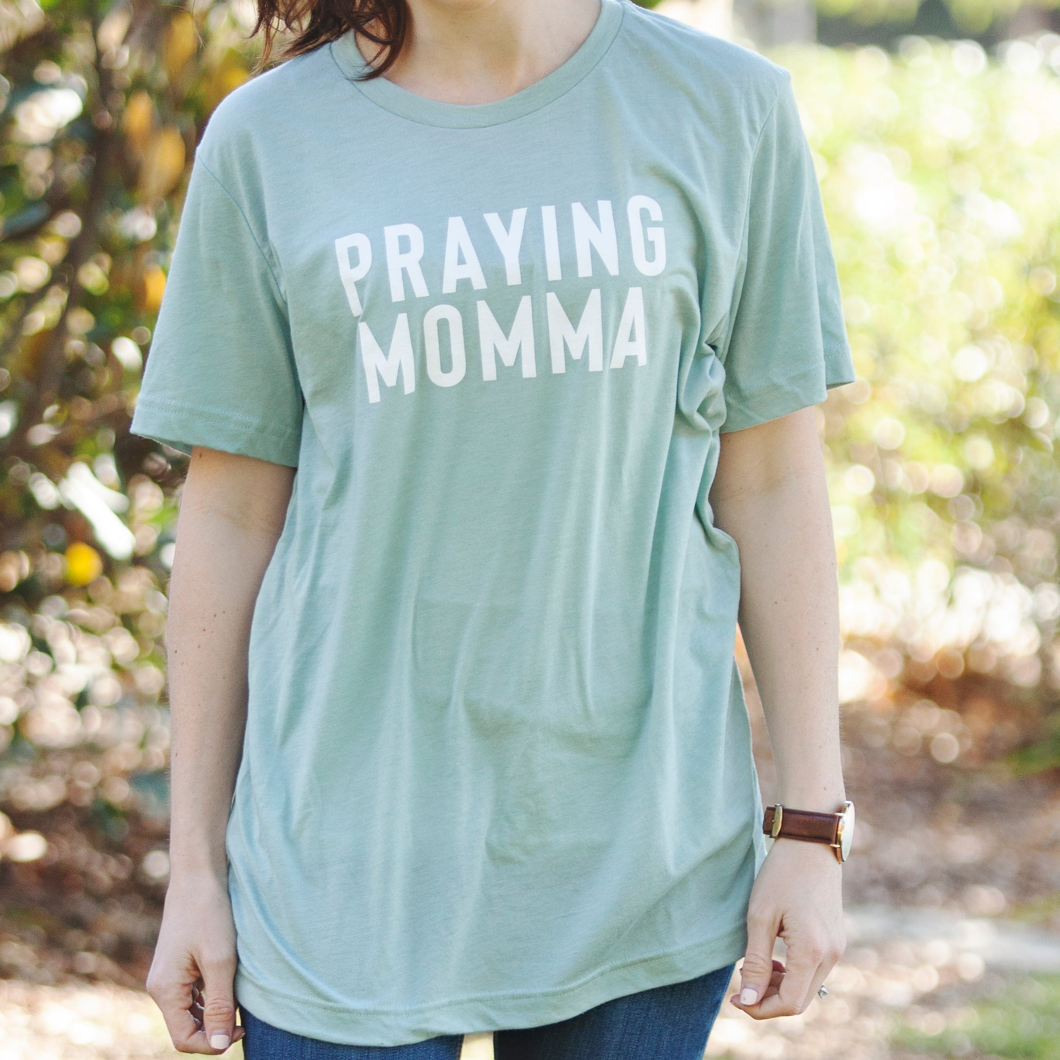 (PRE-ORDER) Praying Momma® T-Shirt | Dusty Blue