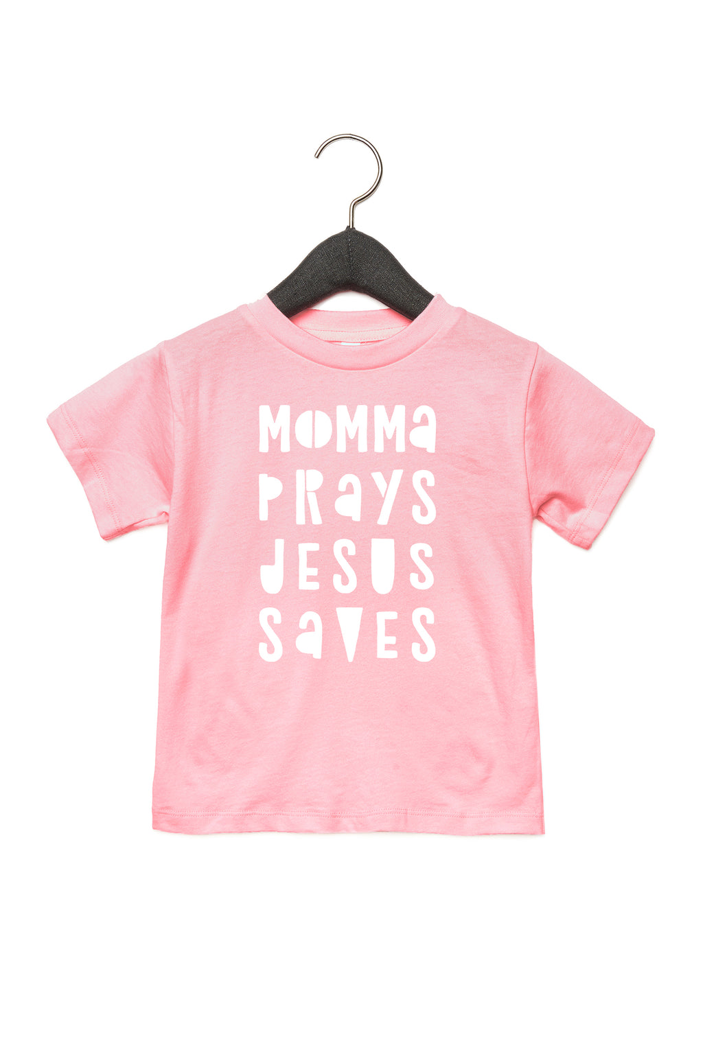(PRE-ORDER) Momma Prays Jesus Saves™️ Toddler T-Shirt | Pink