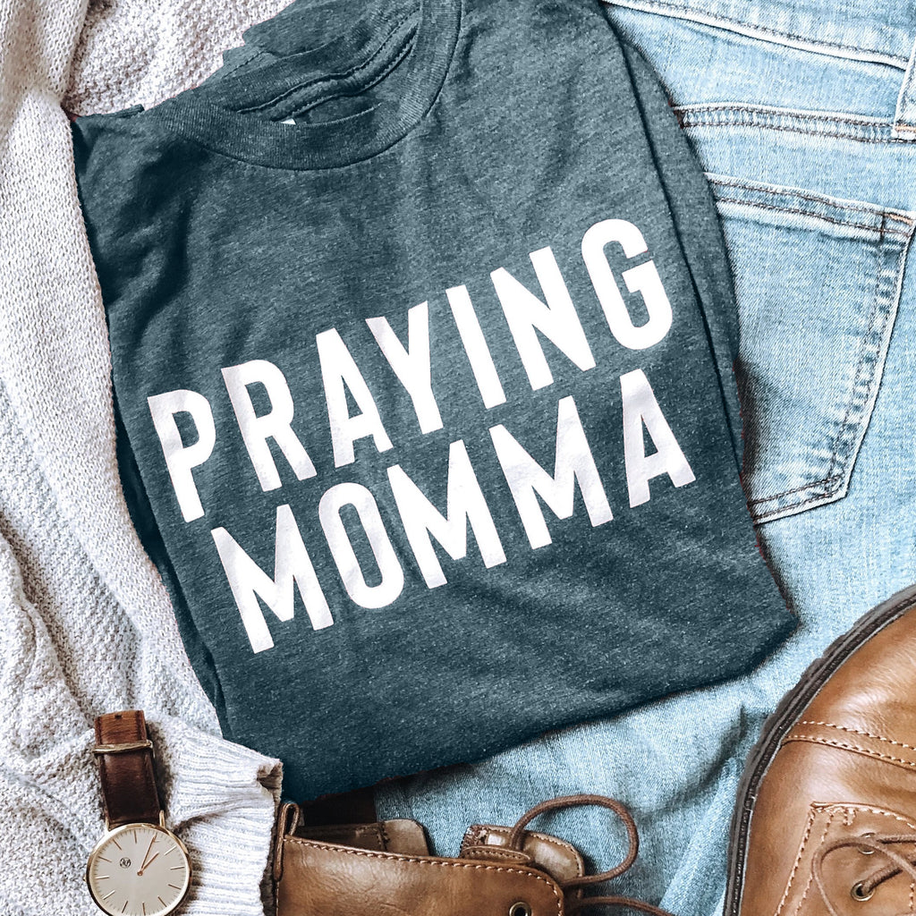 (PRE-ORDER) Praying Momma® T-Shirt | Steel Blue
