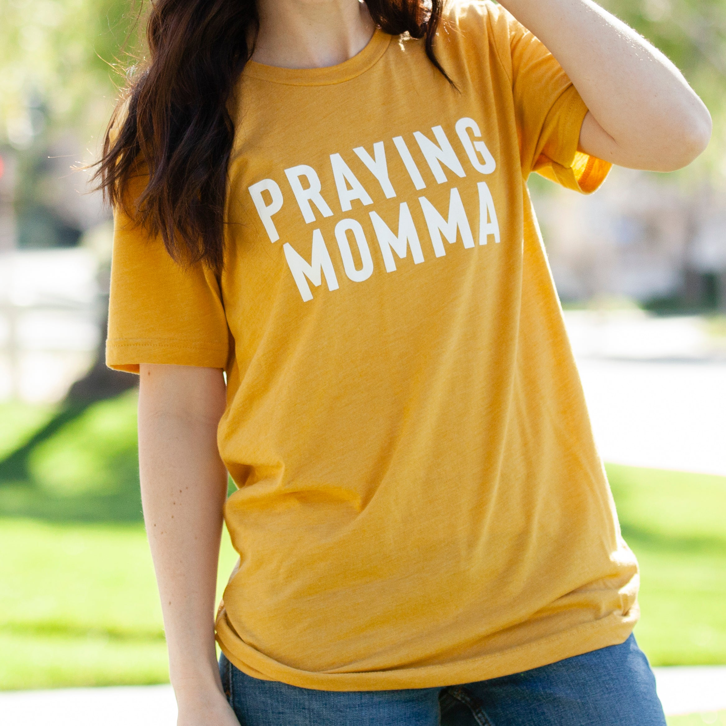 (PRE-ORDER) Praying Momma™️ T-Shirt | Mustard
