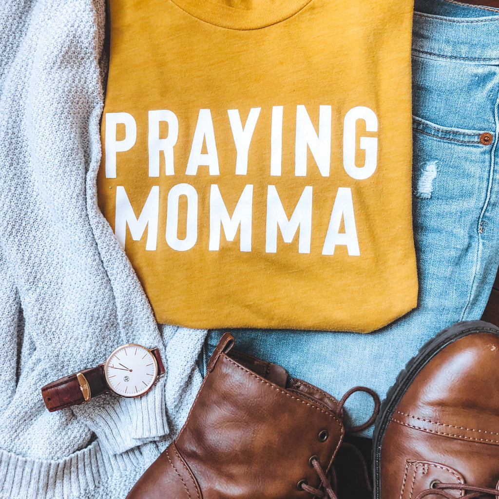 (PRE-ORDER) Praying Momma® T-Shirt | Mustard