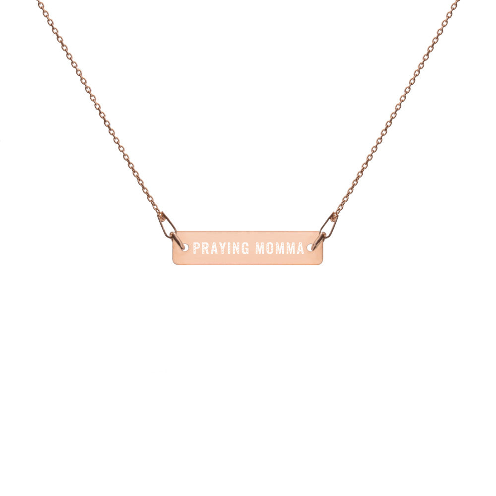 PRAYING MOMMA™ Engraved Bar Chain Necklace