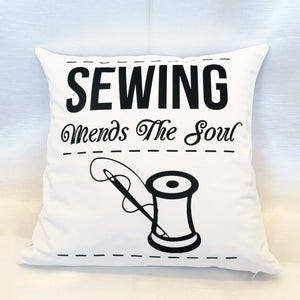 Sewing Mends The Soul Velvet Cushion