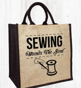 Sewing Mends The Soul Jute Bag
