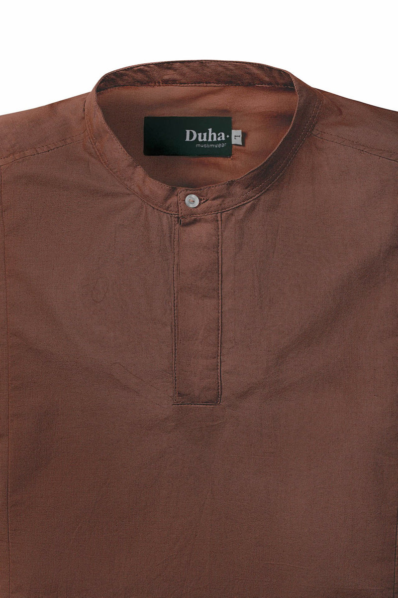 Rasheed Terracota Stand Collar Short Sleeve (4480811434028)