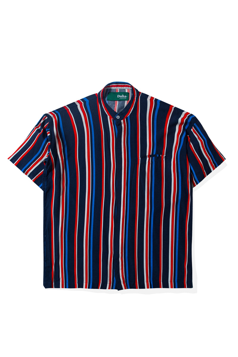 Rushd Navy Red Stripes Shirt