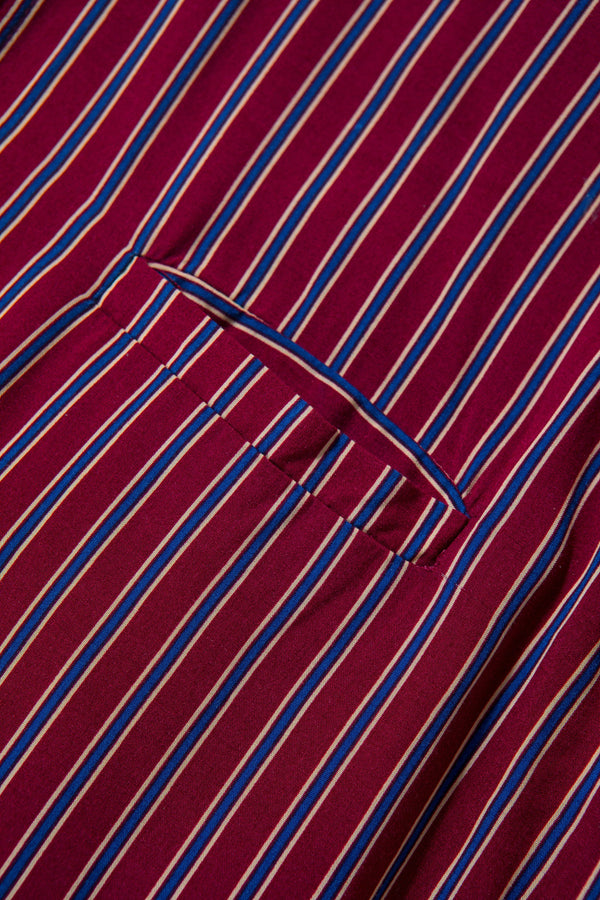 Farabi Maroon Blue Stripes Long Gamis
