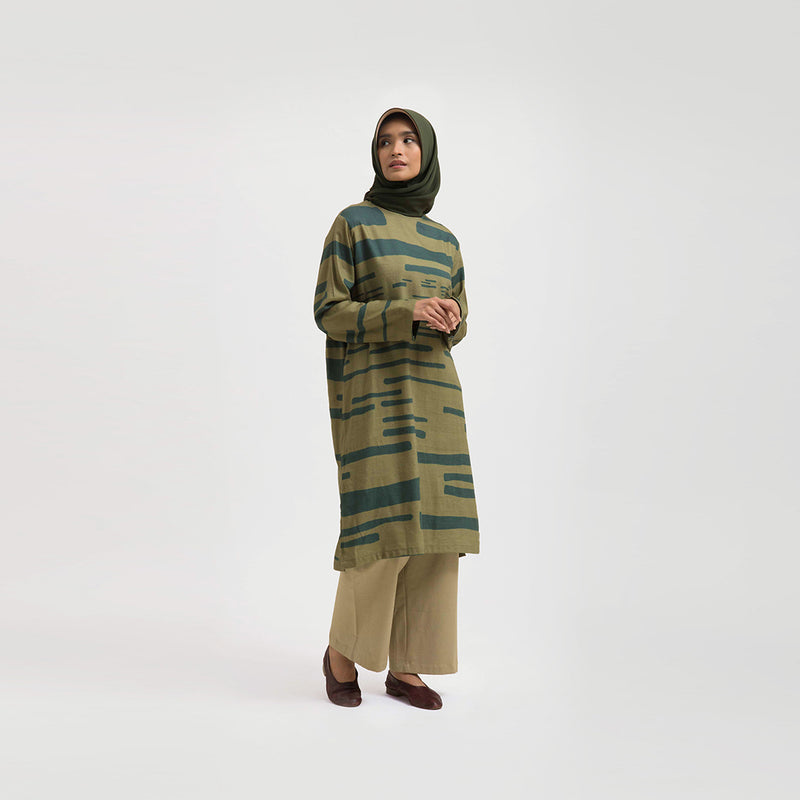 Azra Alsama Olive Dress Wanita (5107223167020)
