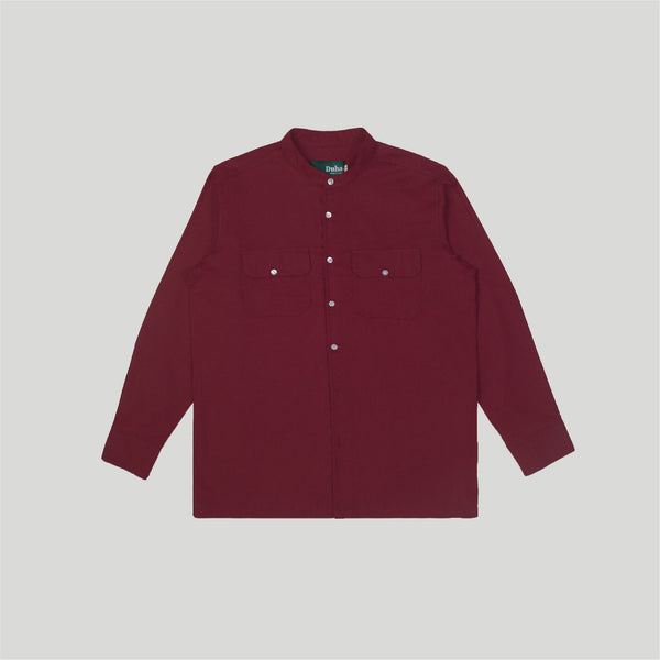 Qazvin Maroon Stand Collar Long Sleeve Pria (4480811696172)