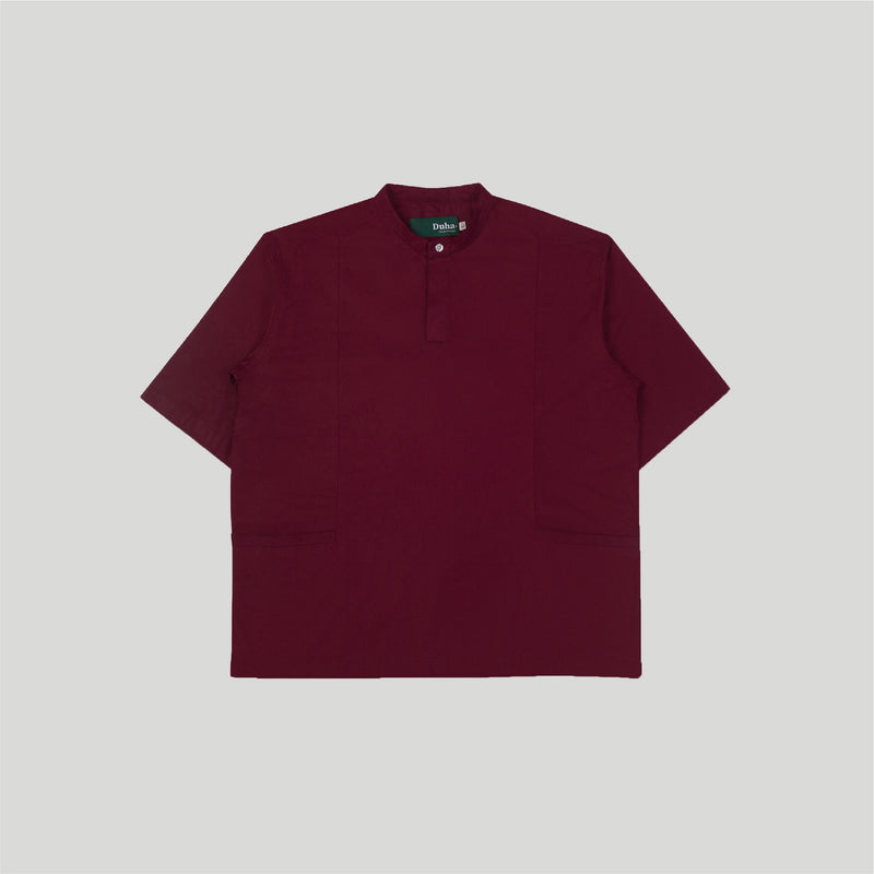 Rasheed Maroon Stand Collar Short Sleeve Pria (4480811401260)