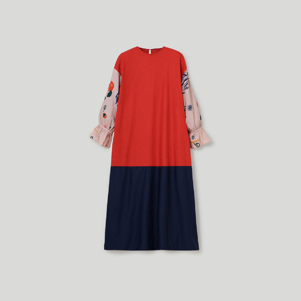 Sherine Alma Red - Navy Dress Wanita (5107222872108)