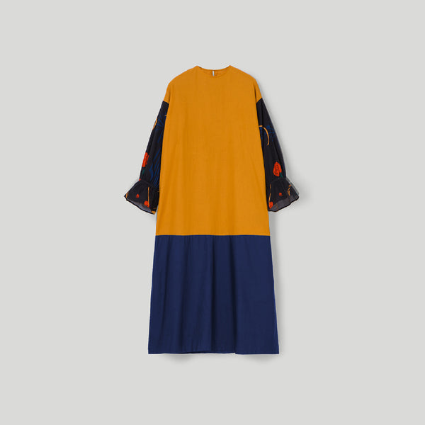 Sherine Alma Yellow - Navy Dress Wanita (5107221757996)