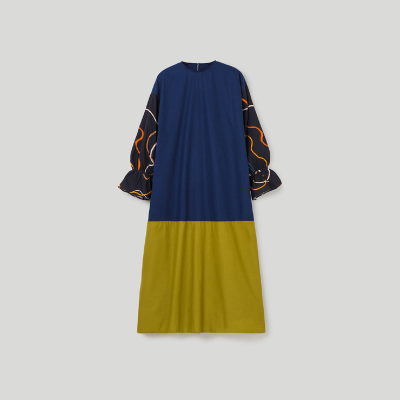 Sherine Alma Navy - Green Dress Wanita (5107222282284)