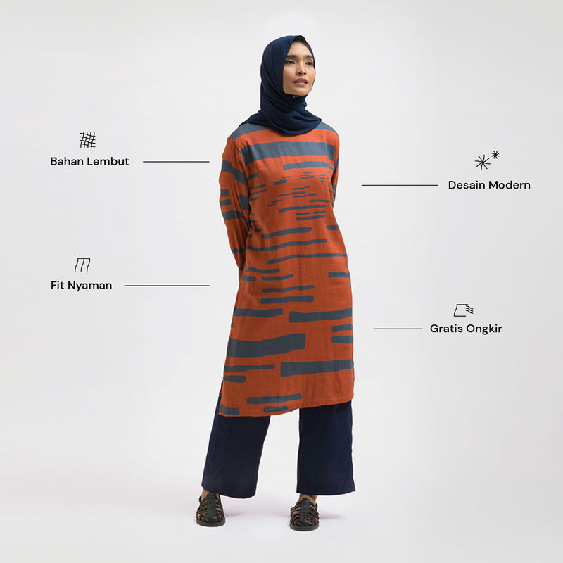 Azra Alsama Orange Dress Wanita (5107223265324)