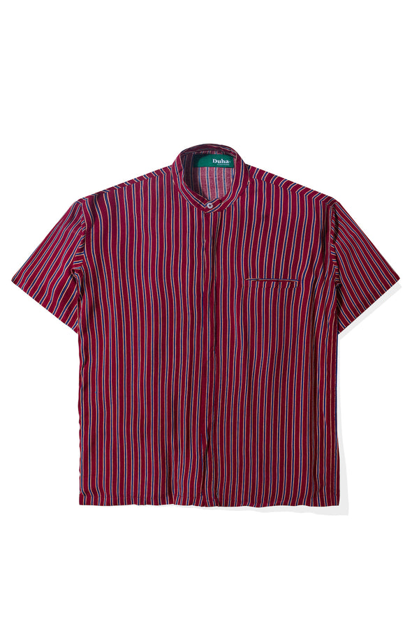 Rushd Maroon Blue Stripes Shirt
