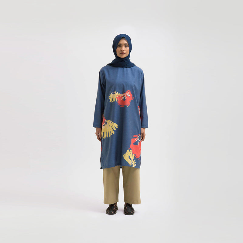 Shaheen Warda Navy Dress Wanita (5107223625772)