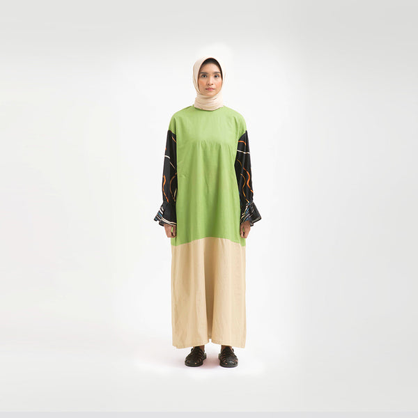 Sherine Alma Green - Khaki Dress Wanita (5107222511660)