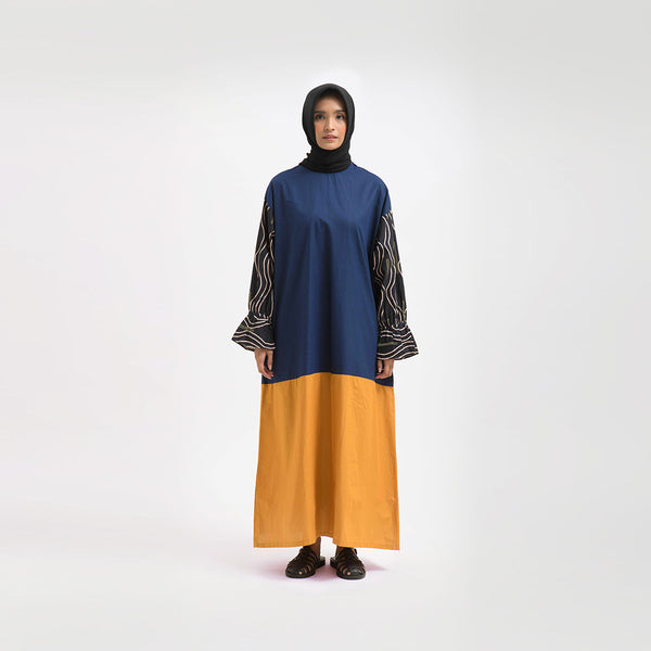 Sherine Alma Navy - Yellow Dress Wanita (5107222741036)