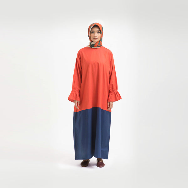 Tanisha Terracotta - Navy Dress Wanita (5107219333164)