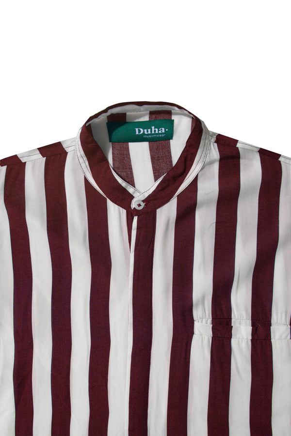 Rushd Maroon Stripes Shirt (4165174886435)