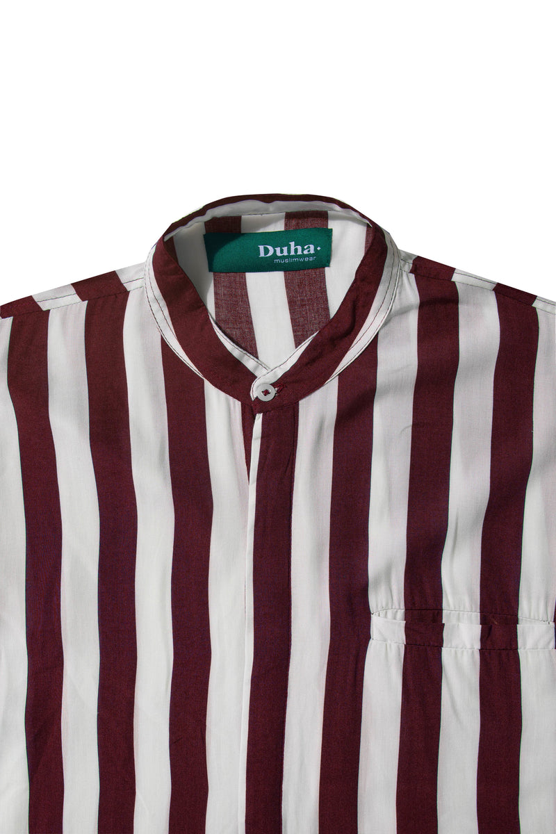 Rushd Maroon Stripes Shirt
