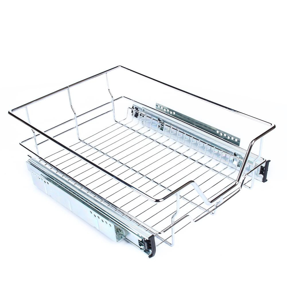 kitchen sliding cabinet organizer pull out chrome wire storage basket drawer kit ebay. Black Bedroom Furniture Sets. Home Design Ideas