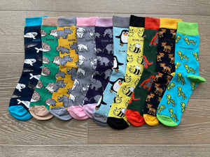set of 10 bamboo socks with colourful animal designs