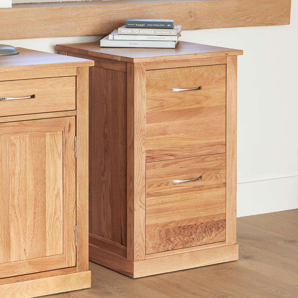 image of the baumhaus mobel oak desk height filing cabinet cor07a