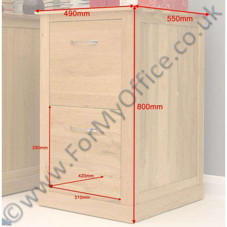 dimensional image of the baumhaus mobel oak desk height filing cabinet cor07a