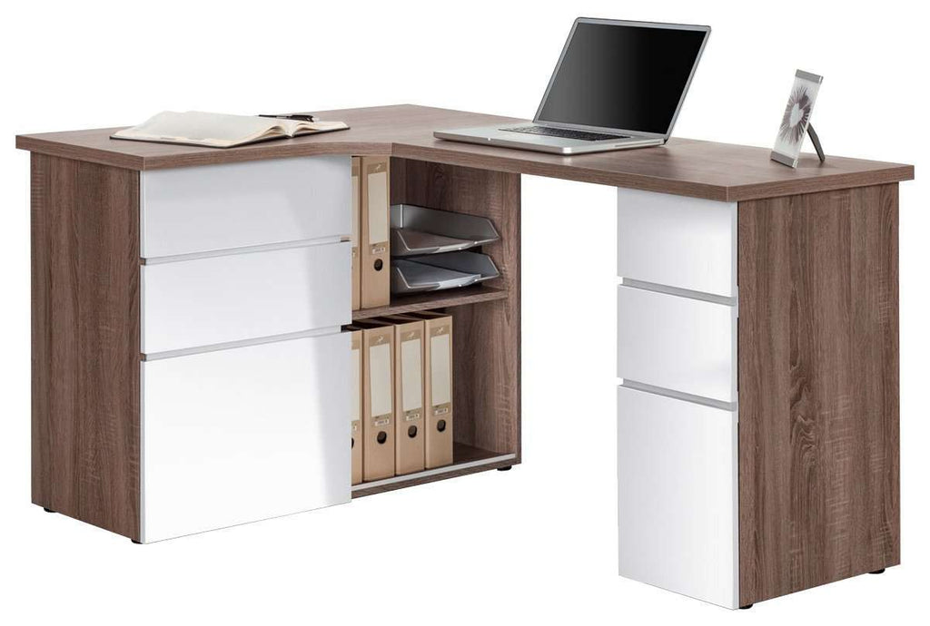 Maja Oxford Corner Office Desk in Truffle Oak and High Gloss White (9543 8056)