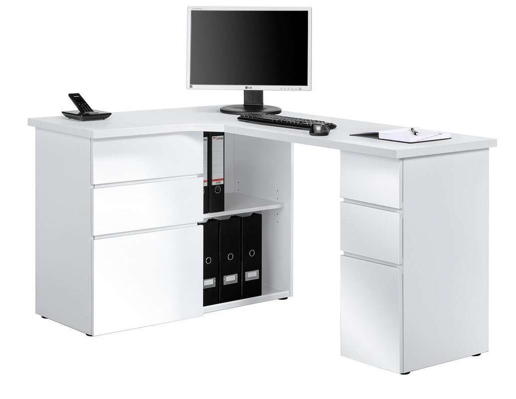 Maja Oxford Corner Office Desk in Ice White and High Gloss White (9543 3956)