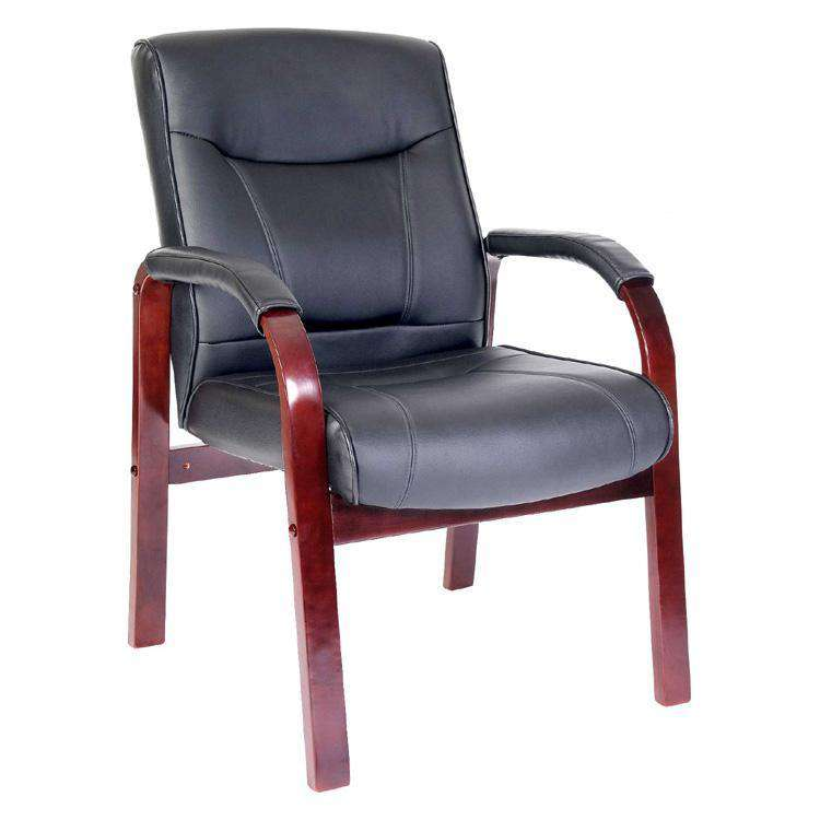 Teknik 8511MD/M - Kingston Visitor Black Leather Chair with Dark Wood