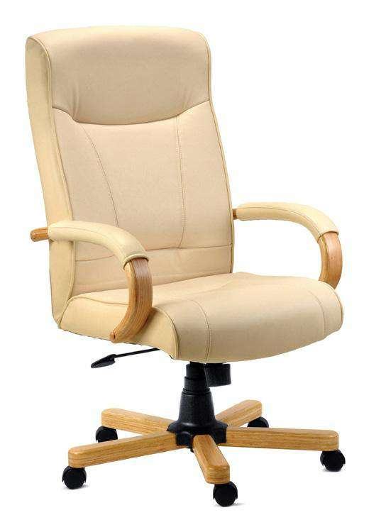 Teknik 8513HLW - Knightsbridge Executive Leather Chair in Cream